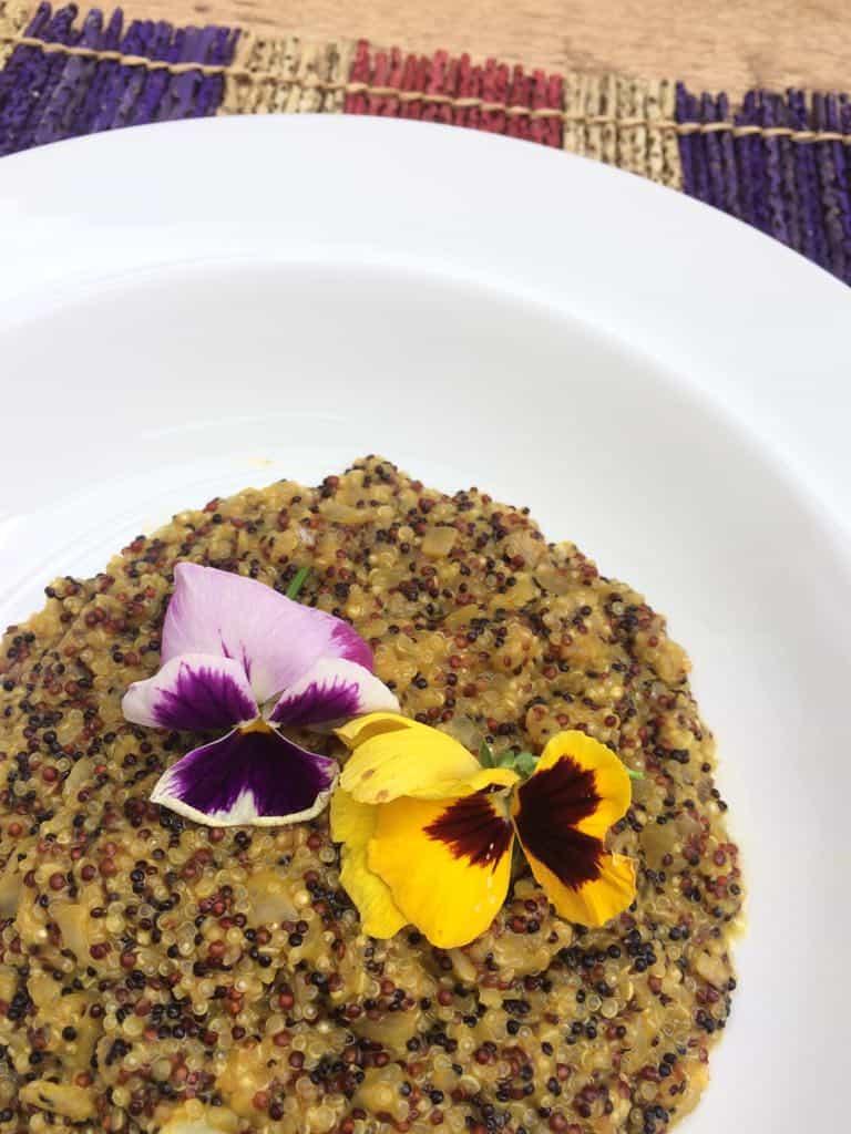 Risoto de quinoa com creme de abóbora